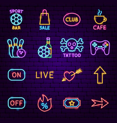 street sign neon icons vector image