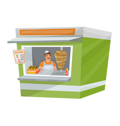 street stand with seller inside vector image