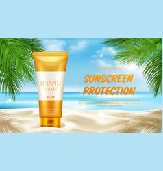 sunscreen protection cosmetic mock up banner vector image