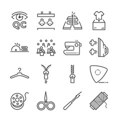 Tailor line icon set vector