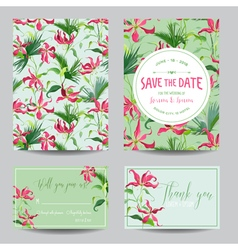 Tropical Flowers and Leaves Wedding Invitation vector