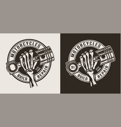 vintage monochrome motorcycle workshop round logo vector image