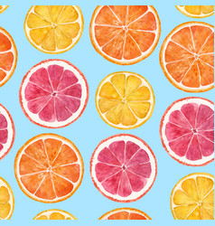 watercolor citrus pattern vector image