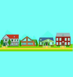 Bright suburban summer houses template vector
