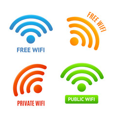 realistic 3d detailed color wifi signs icons set vector image