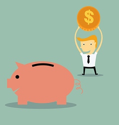 businessman saving money vector image