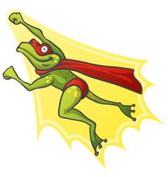 cartoon frog superhero vector image