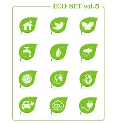 Ecology icon set v4 Leaf nature icons vector image