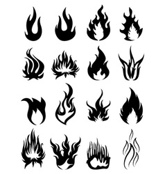 Fire silhouette icons set vector image vector image