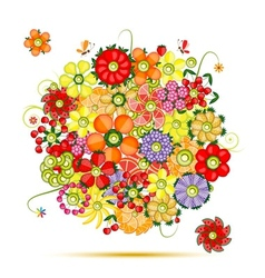 Floral bouquet Flowers made from fruits vector image