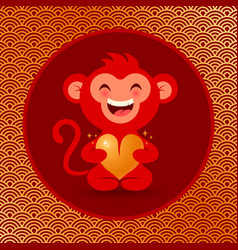 golden monkey with heart vector image