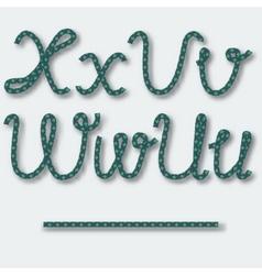 Letters U V W X - handwritten alphabet of rope vector image vector image