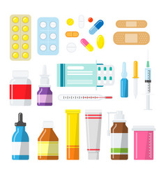 medicine pills tablets and bottles in a flat style vector image