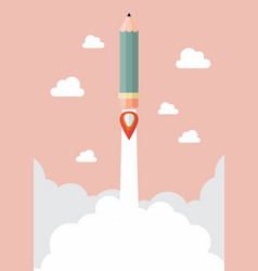 pencil rocket launch vector image vector image