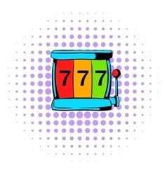 Slot machine jackpot icon comics style vector image