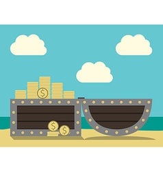 Treasure chest on beach vector image