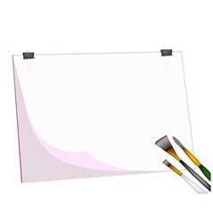 Artist Brushes and Eraser on Blank Clipboard vector image vector image