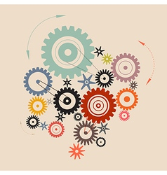 Cogs - Gears in Retro Style vector image