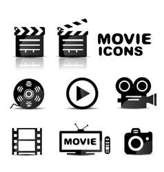 Movie black glossy icon set vector image