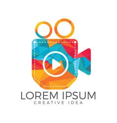 pocket video logo design vector image