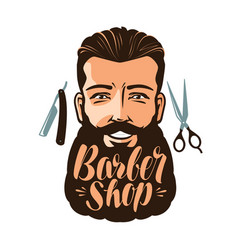 barbershop logo or label portrait of happy man vector image vector image