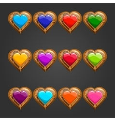 Big set with wooden heart vector image vector image
