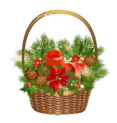 gift basket with flowers vector image vector image