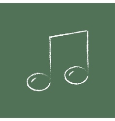 Music note icon drawn in chalk vector image