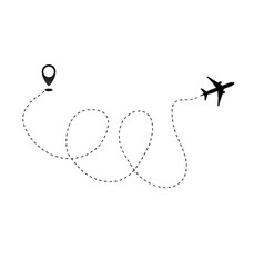 airplane line path icon of air plane flight vector image