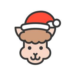 Alpaca wearing santa hat outline icon editable vector