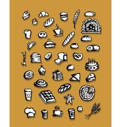Bakery collection sketch for your design vector image