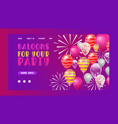 ballooon web page celebrating birthday vector image
