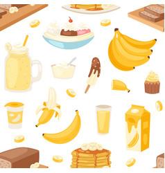 Banana set bananas products bread pancake vector