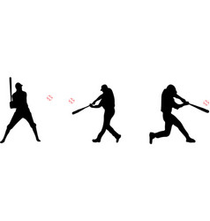 Baseball player and baseball silhouette icon on wh vector