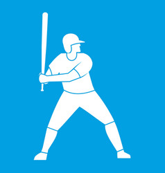 baseball player with bat icon white vector image