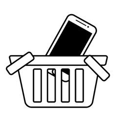 basket buy online smartphone commerce outline vector image