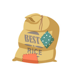 Best rice cartoon sack with funny patches textile vector