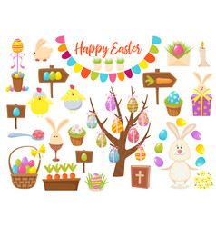 Big collection of happy easter objects flat vector