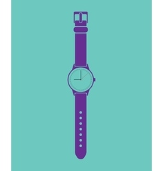 Blue trendy painted watch on a green background vector image