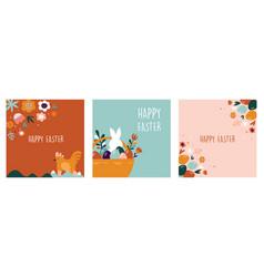 boho easter concept design bunnies eggs flowers vector image