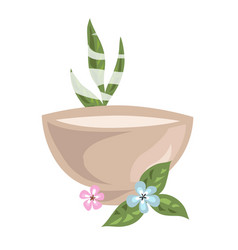 Bowl with hot cosmetical means for spa procedure vector