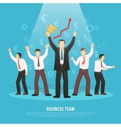 Business Team Success Flat Poster vector
