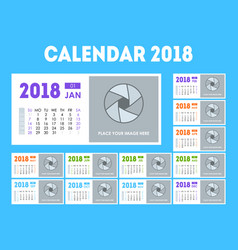 cartoon calendar event planner 2018 set vector image
