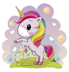 Cartoon unicorn with a lush rainbow mane on a vector