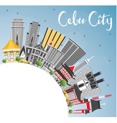 Cebu city philippines skyline with gray buildings vector