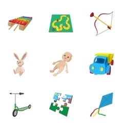 Child play icons set cartoon style vector image