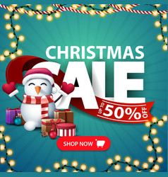 Christmas sale square discount banner with large vector