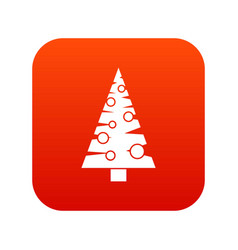 Christmas tree icon digital red vector