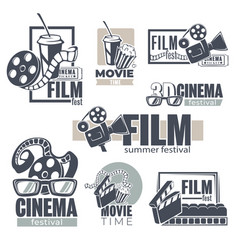 cinema and movies set monochrome banners vector image
