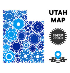 Collage utah state map of gears vector